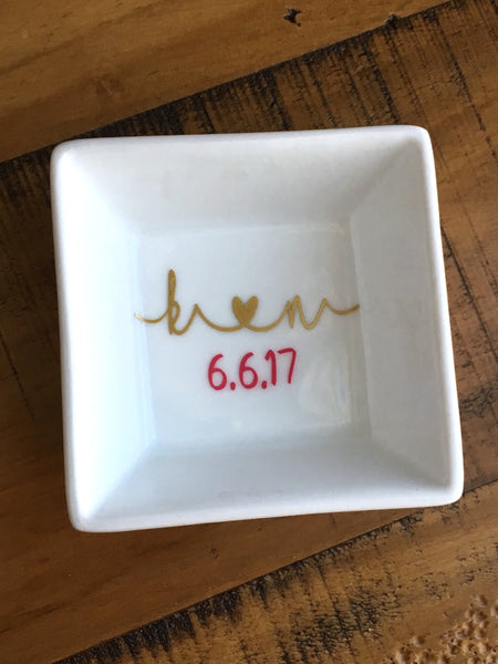 Initials Ring Dish His and Hers