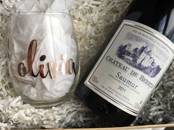 Rose Gold Foil Personalized Wine Glass