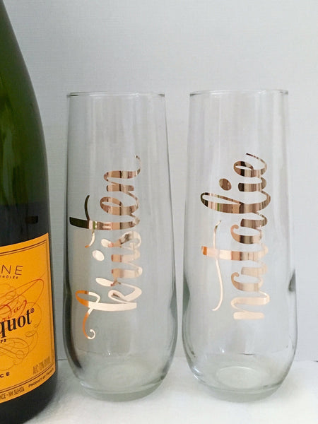 Personalized Gold Foil Champagne Flutes