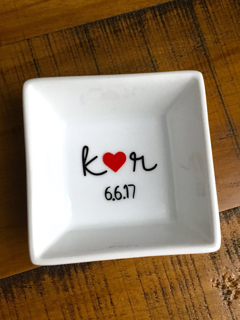 Initials and Date Personalized Ring Dish