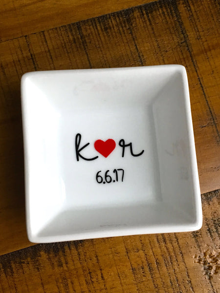 Heart & Initials Personalized Ring Dish