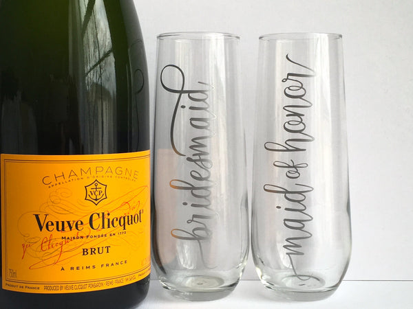 Silver Bridal Party Champagne Glasses
