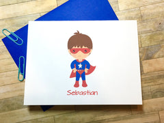 Boy in Super Hero Cape Personalized Note Cards