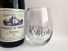 Silver Script Personalized Wine Glass