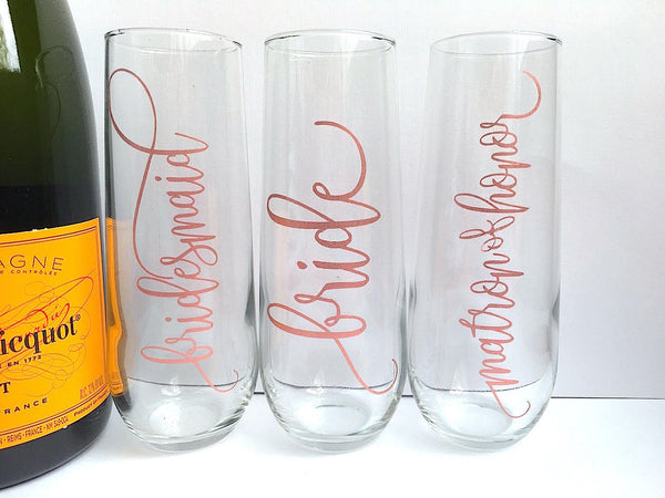 Rose Gold Bridal Party Wedding Champagne Flutes
