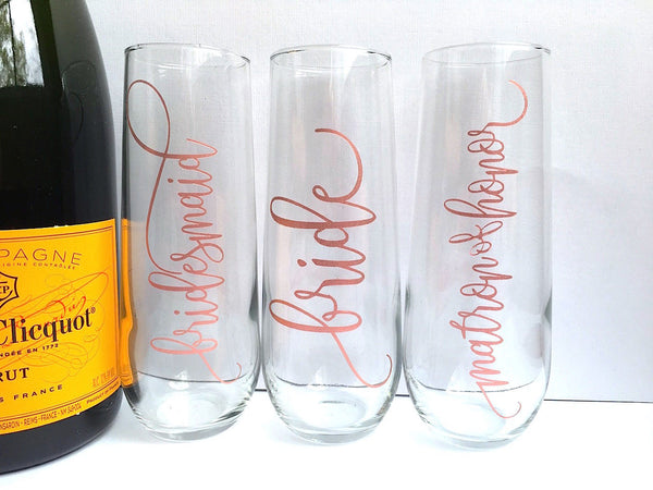 Personalized Wedding Champagne Flutes in Rose Gold