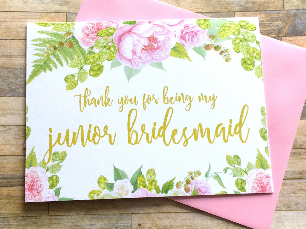 Gold and Pink Thank You for Being My Junior Bridesmaid Card