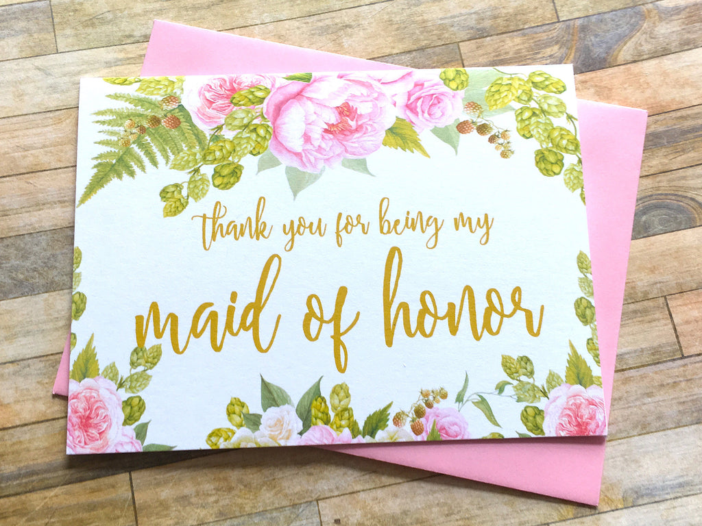 Gold and Pink Thank You for Being My Maid of Honor Card