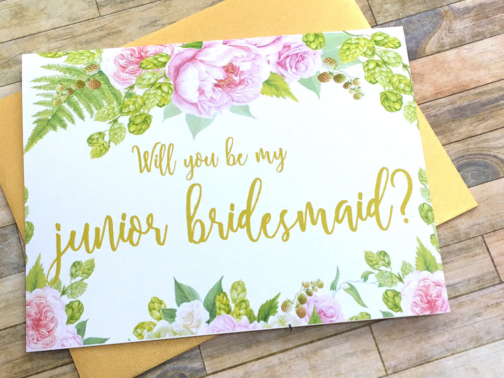 Gold and Pink Junior Bridesmaid Proposal Card