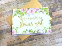Gold and Pink Thank You for Being My Flower Girl Card