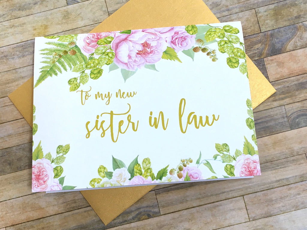 Sister in Law Card on Wedding Day