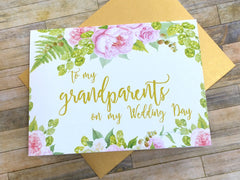 To My Grandparents on My Wedding Day Card Gold and Pink