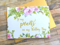 To My Parents on My Wedding Day Gold and Pink
