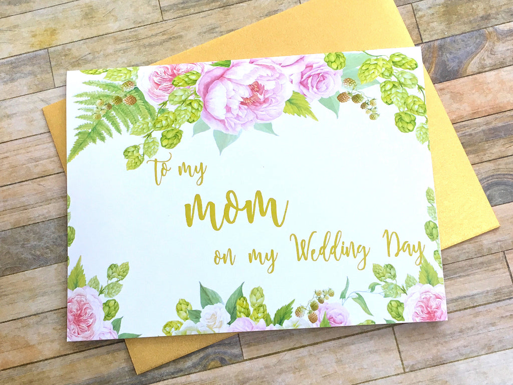 Gold and Pink To My Mom on My Wedding Day Card
