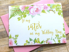 Gold and Pink To My Sister on My Wedding Day Card