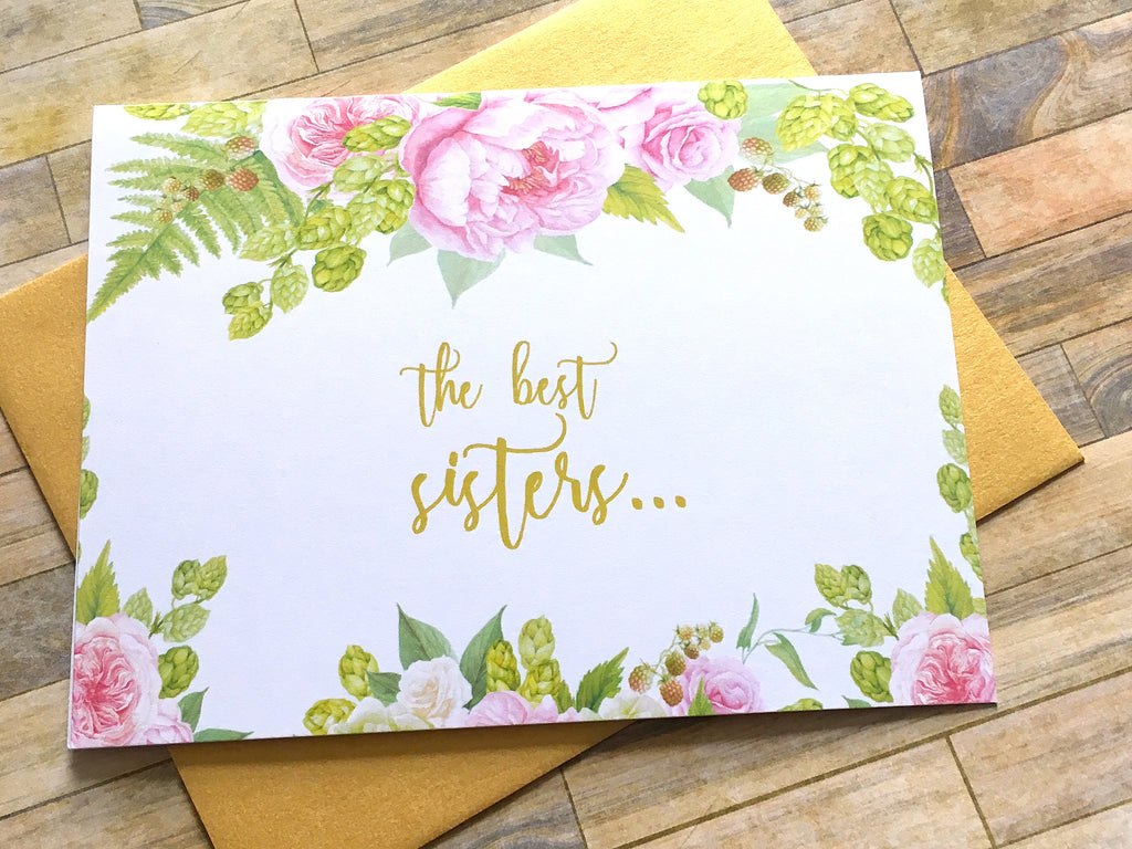 Gold Pink The Best Sisters Get Promoted to Auntie Card