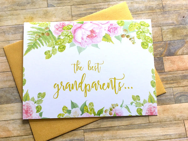 Grandparents Get Promoted to Great Grandparents Card Gold and Pink