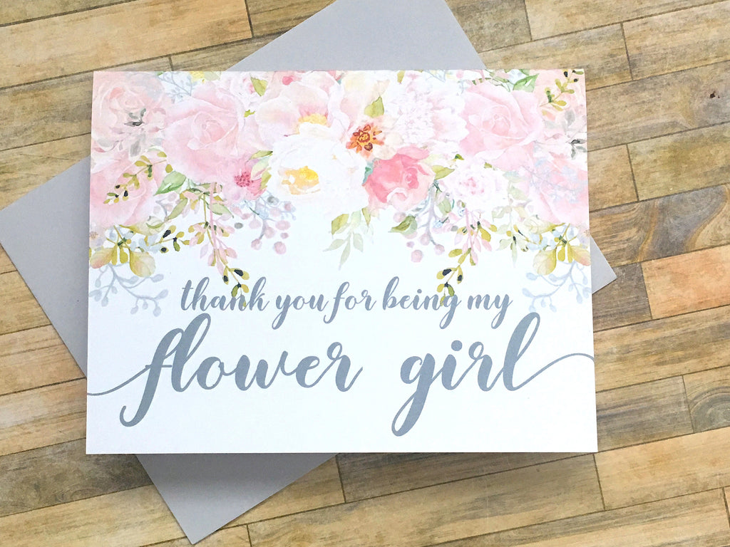 Pink and Grety Thank You for Being My Flower Girl Card