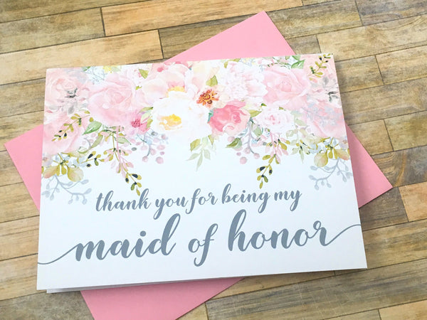 Pink and Grey Matron of Honor Thank You Card