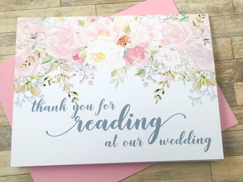 Wedding Reader Thank You Card Pink and Grey