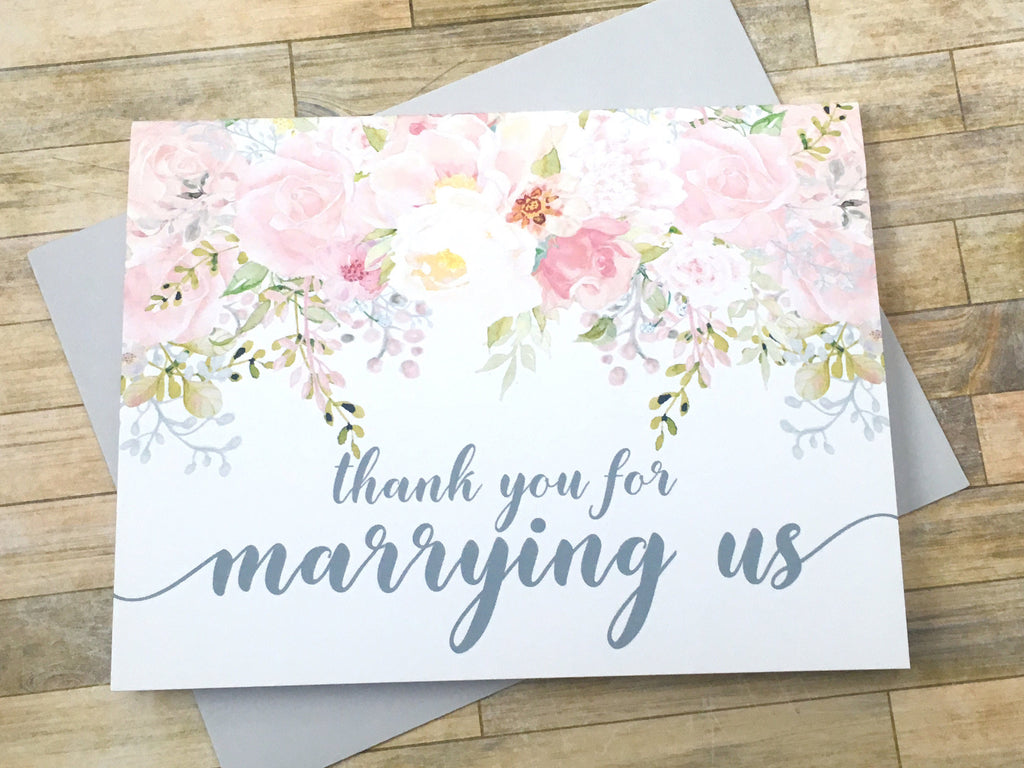 Officiant Thank You Card Pink and Grey