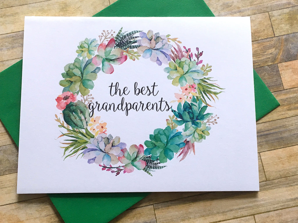 Succulent Best Grandparents Get Promoted to Great Grandparents Card