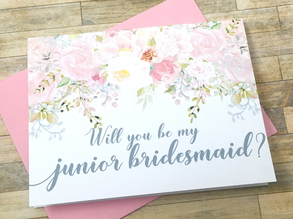 Pink and Grey Will You Be My Junior Bridesmaid Proposal Card