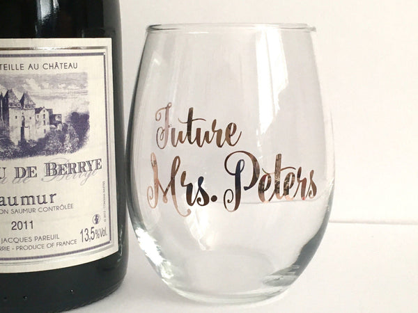 Future Mrs Personalized Rose Gold Wine Glass