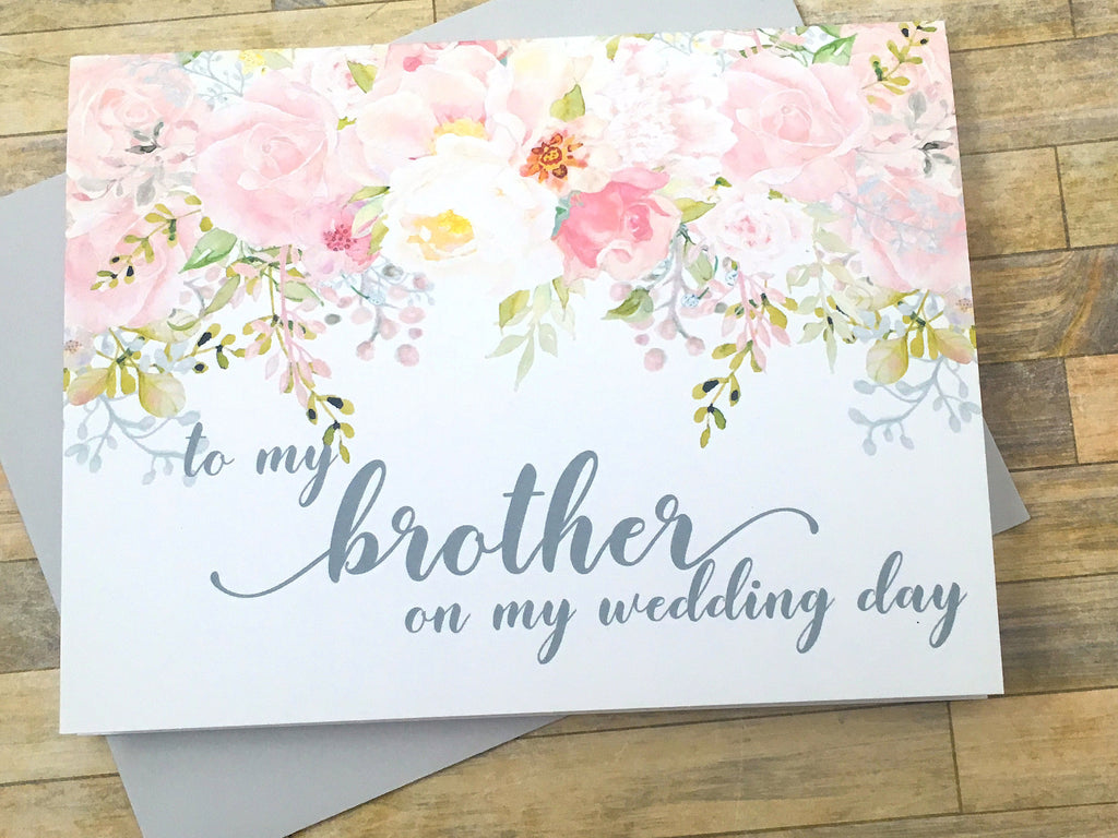 Brother on My Wedding Day Card Pink and Grey