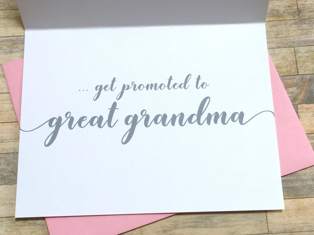 Grandma Pregnancy Announcement Card Pink and Grey