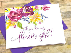 Purple Flowers Maid of Honor Proposal Card