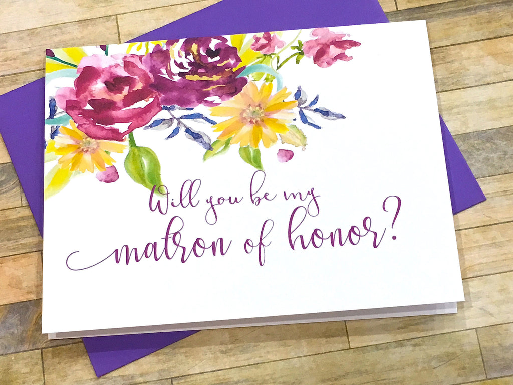 Purple Will You Be My Matron of Honor Proposal Card