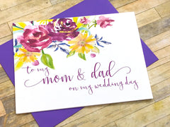 Mom and Dad on My Wedding Day Card Purple