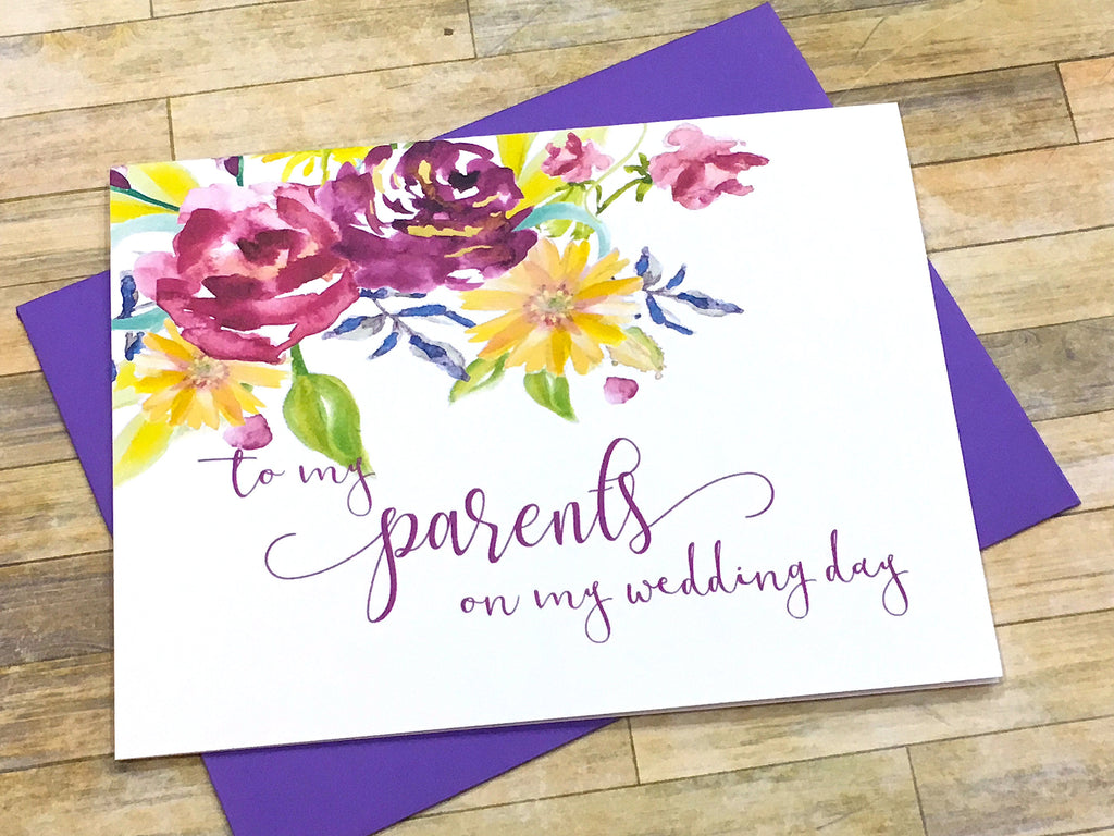 Card for Parents on Wedding Day Purple