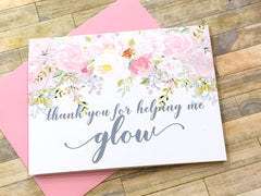 Makeup Artist Thank You Card Pink and Grey