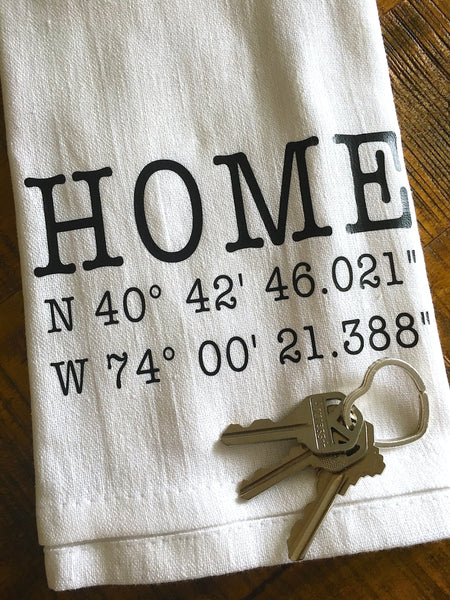 Home Coordinates Personalized Tea Towel