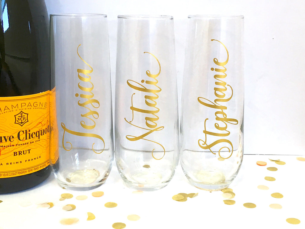 Script Personalized Name Champagne Flutes