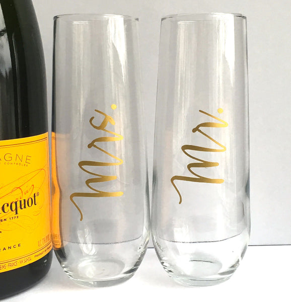 Mr. and Mrs. Champagne Flutes Set