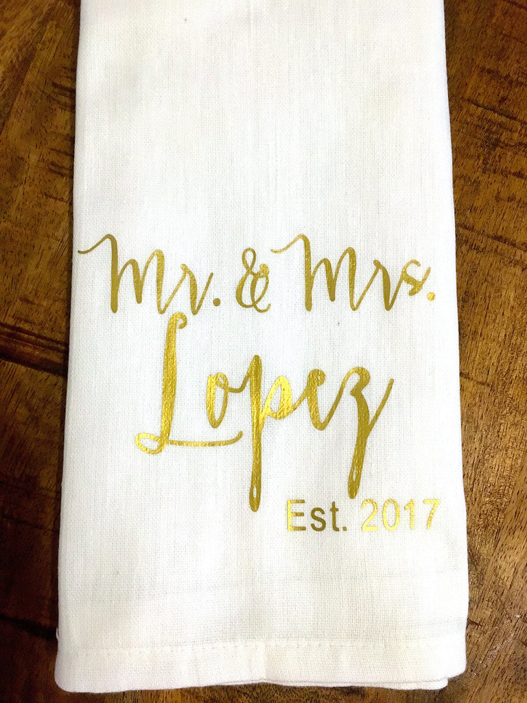 Mr. and Mrs. Personalized Kitchen Towel with Year