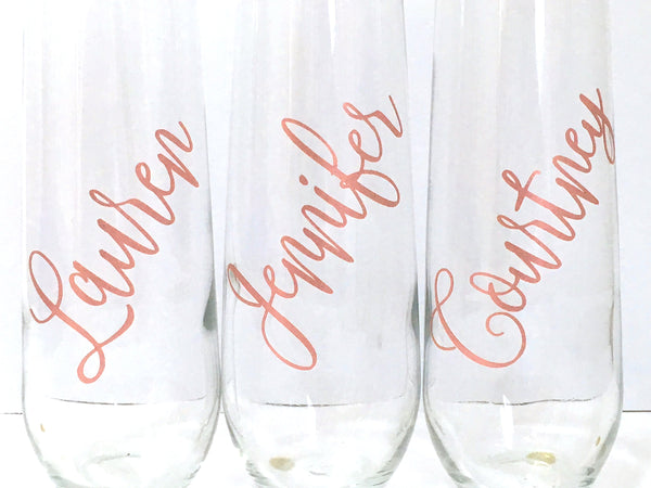 Rose Gold Personalized Champagne Flutes