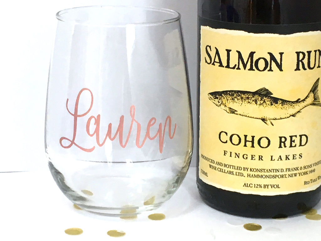 Rose Gold Wine Glass with Personalized Name
