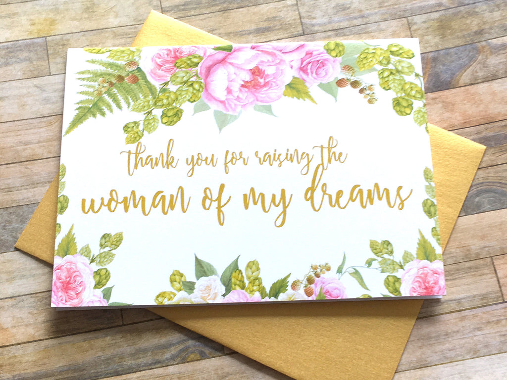 Gold and Pink Card for In Laws on Wedding Day