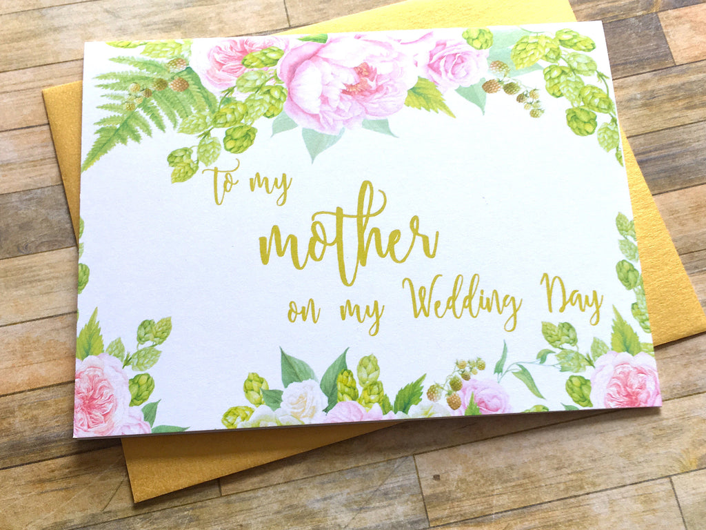 Pink Gold To My Mother on My Wedding Day Card