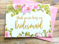Gold and Pink Thank You for Being My Bridesmaid Card