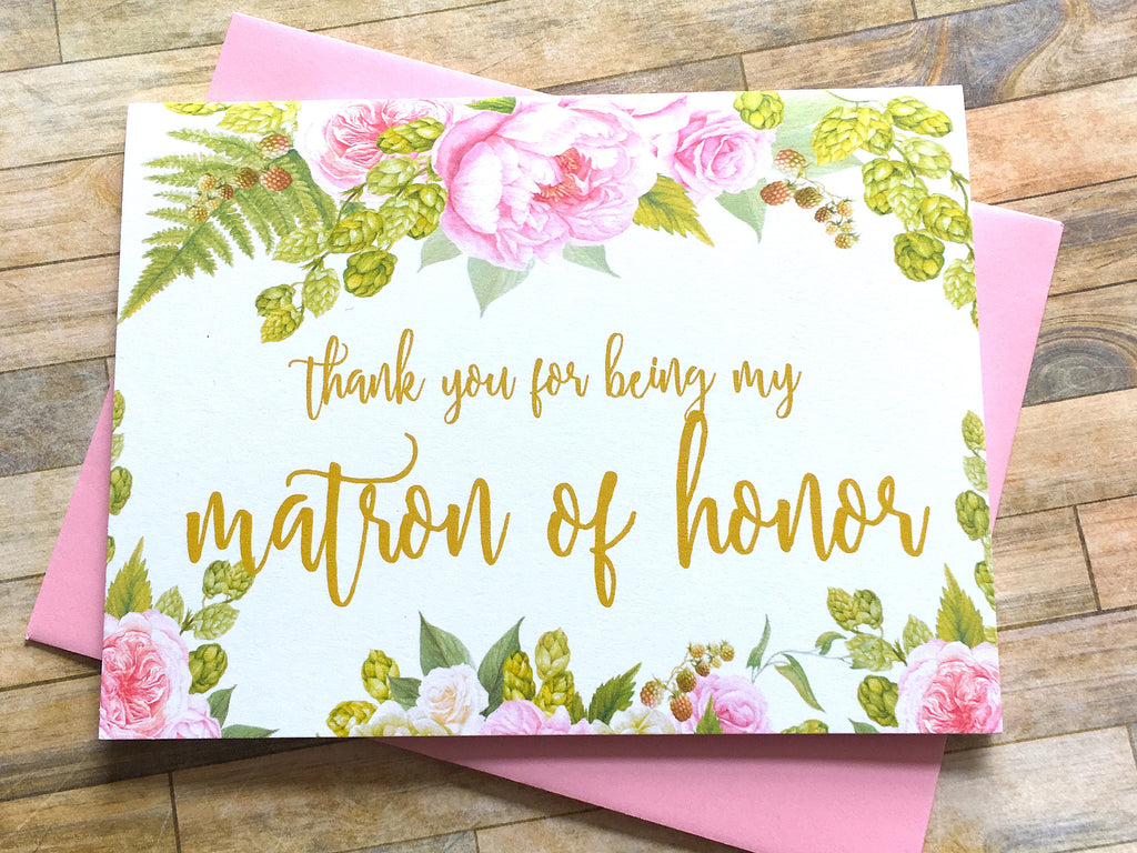 Gold and Pink Matron of Honor Thank You Card