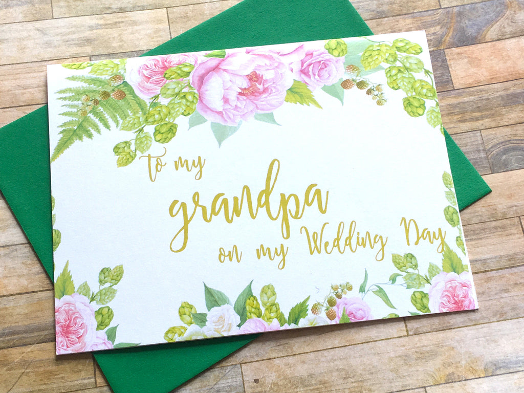 Gold Pink Grandpa Wedding Day Card