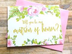 Matron of Honor Proposal Card Gold and Pink