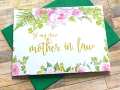 Card for Mother in Law on Wedding Day