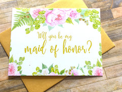 Gold and Pink Will You Be My Maid of Honor Proposal Card