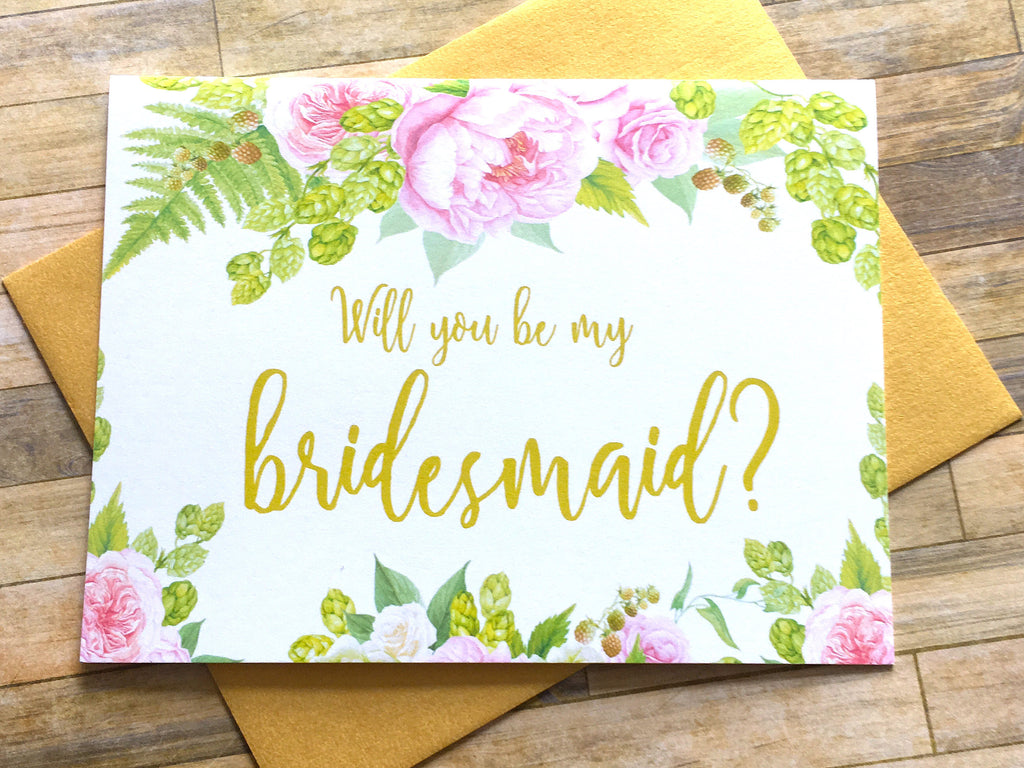 Gold and Pink Bridesmaid Proposal Card